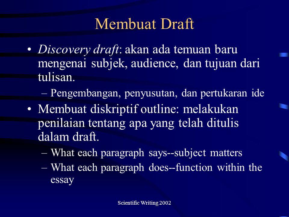 Scientific Writing 2002 Membuat Draft Discovery draft: akan ada temuan baru mengenai subjek, audience, dan tujuan dari tulisan.