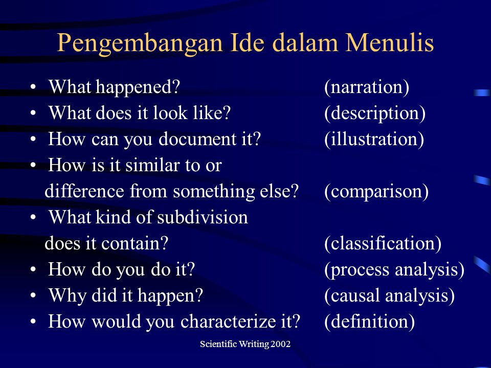 Scientific Writing 2002 Pengembangan Ide dalam Menulis What happened?(narration) What does it look like?(description) How can you document it?(illustr
