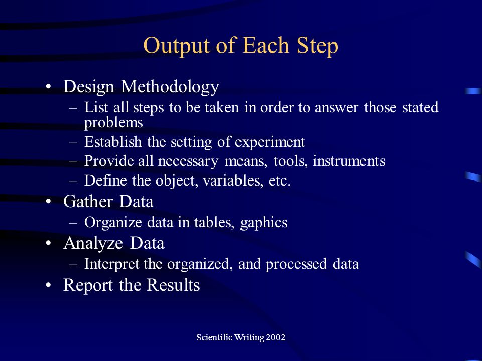 Scientific Writing 2002 Output of Each Step Design Methodology –List all steps to be taken in order to answer those stated problems –Establish the set