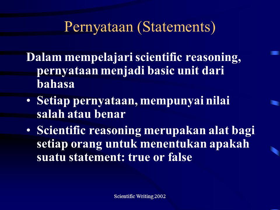 Scientific Writing 2002 Pernyataan (Statements) Dalam mempelajari scientific reasoning, pernyataan menjadi basic unit dari bahasa Setiap pernyataan, mempunyai nilai salah atau benar Scientific reasoning merupakan alat bagi setiap orang untuk menentukan apakah suatu statement: true or false