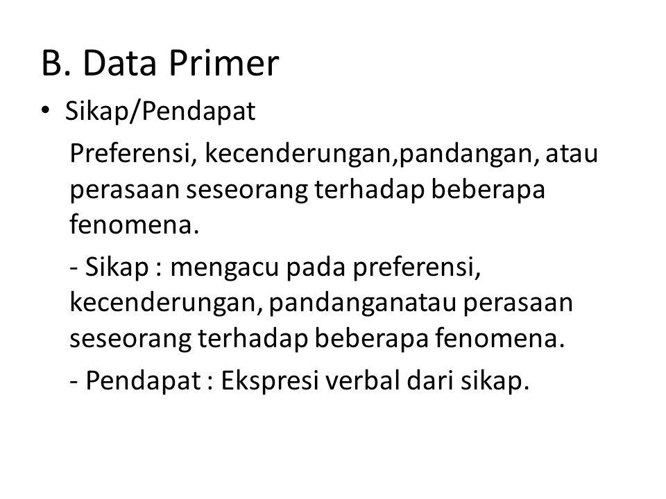 B. Data Primer Sikap/Pendapat Preferensi, kecenderungan,pandangan, atau perasaan seseorang terhadap beberapa fenomena. - Sikap : mengacu pada preferen