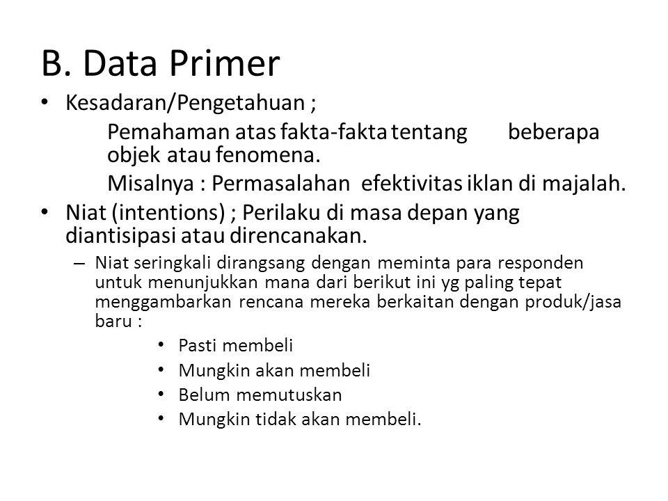 B. Data Primer Kesadaran/Pengetahuan ; Pemahaman atas fakta-fakta tentang beberapa objek atau fenomena. Misalnya : Permasalahan efektivitas iklan di m
