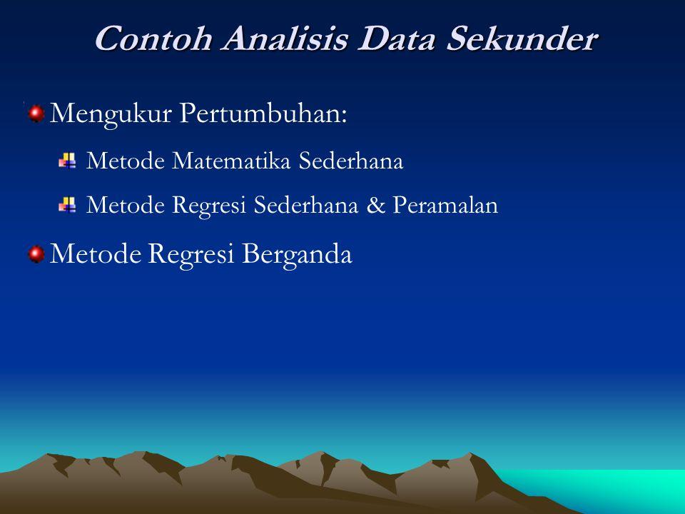 Contoh Analisis Data Sekunder Mengukur Pertumbuhan: Metode Matematika Sederhana Metode Regresi Sederhana & Peramalan Metode Regresi Berganda