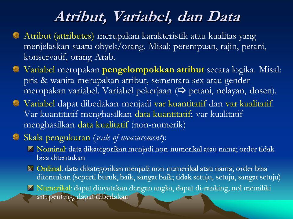 Atribut, Variabel, dan Data Atribut (attributes) merupakan karakteristik atau kualitas yang menjelaskan suatu obyek/orang. Misal: perempuan, rajin, pe
