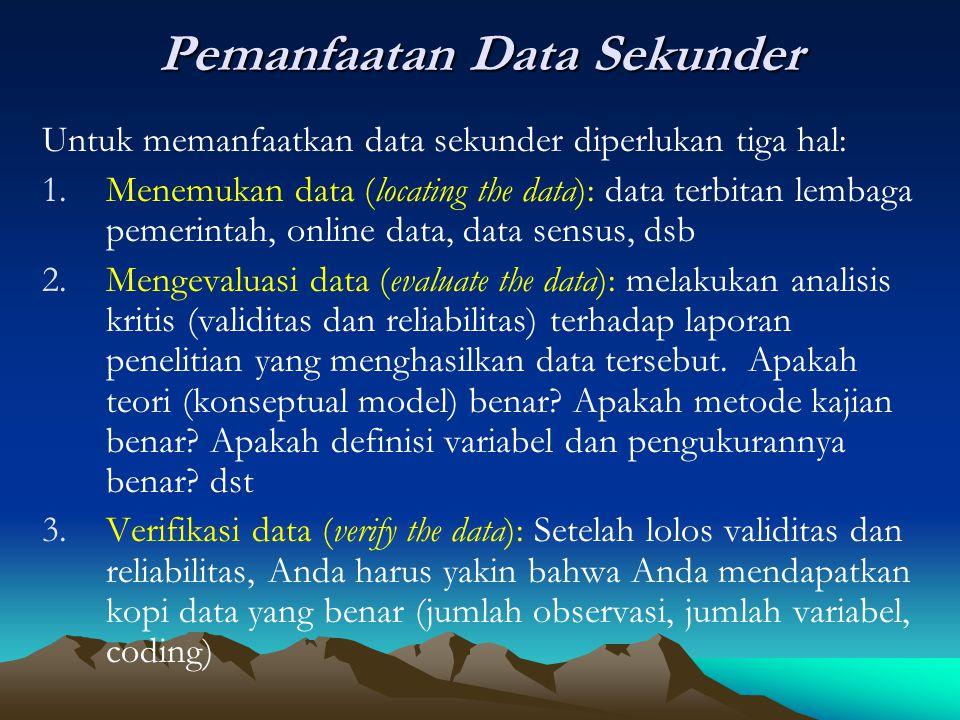 Pemanfaatan Data Sekunder Untuk memanfaatkan data sekunder diperlukan tiga hal: 1.Menemukan data (locating the data): data terbitan lembaga pemerintah