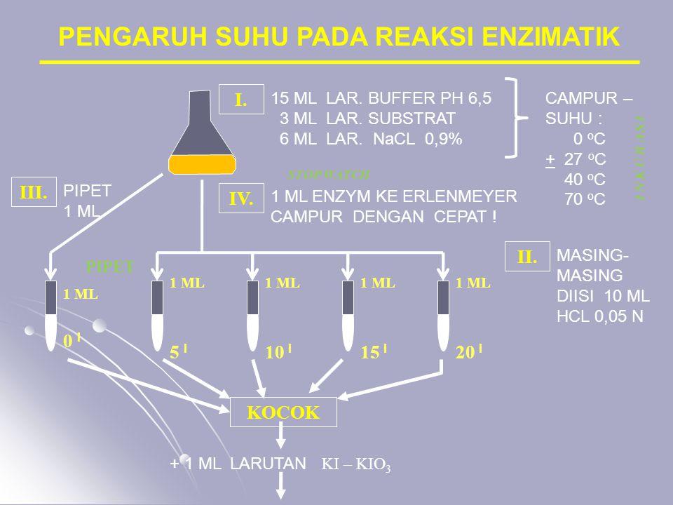 PENGARUH SUHU PADA REAKSI ENZIMATIK 15 ML LAR. BUFFER PH 6,5 3 ML LAR. SUBSTRAT 6 ML LAR. NaCL 0,9% I. CAMPUR – SUHU : 0 o C + 27 o C 40 o C 70 o C IV