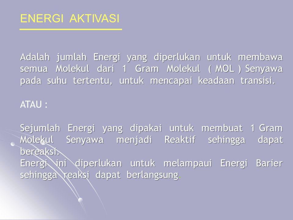 ENERGI AKTIVASI Adalah jumlah Energi yang diperlukan untuk membawa semua Molekul dari 1 Gram Molekul ( MOL ) Senyawa pada suhu tertentu, untuk mencapa