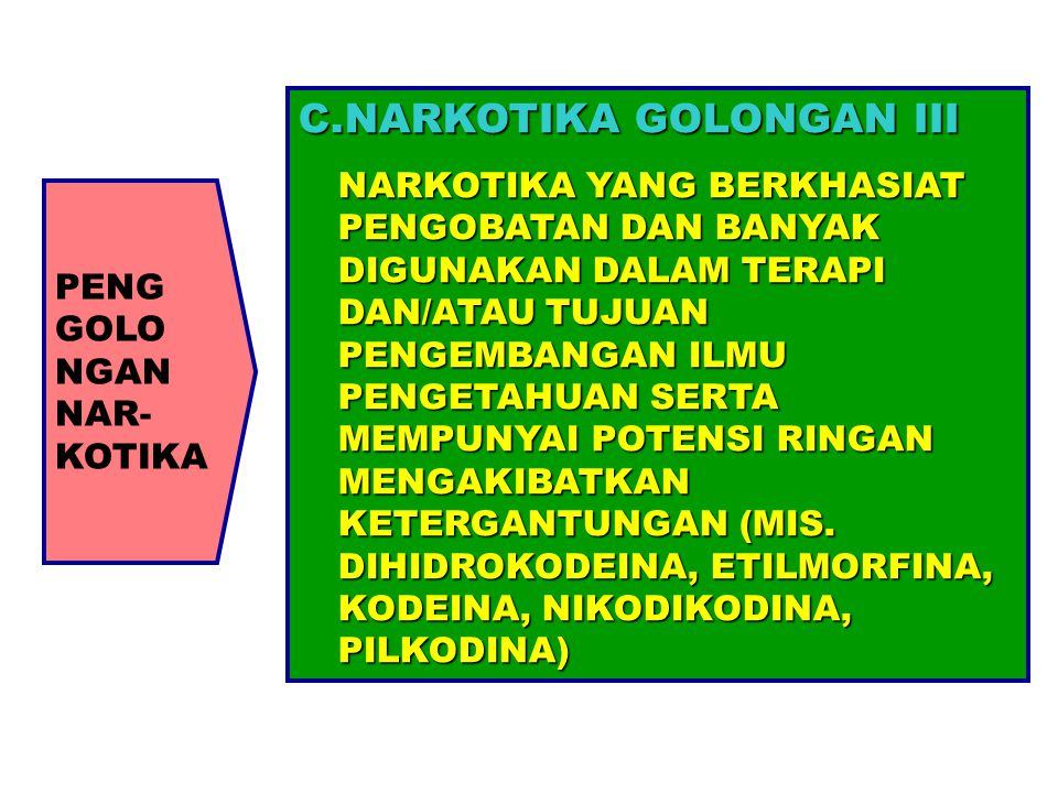 PENG GOLO NGAN NAR- KOTIKA C.NARKOTIKA GOLONGAN III NARKOTIKA YANG BERKHASIAT PENGOBATAN DAN BANYAK DIGUNAKAN DALAM TERAPI DAN/ATAU TUJUAN PENGEMBANGA