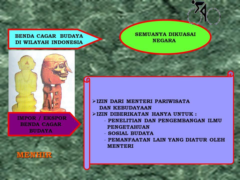 BENDA CAGAR BUDAYA DI WILAYAH INDONESIA SEMUANYA DIKUASAI NEGARA IMPOR / EKSPOR BENDA CAGAR BUDAYA  IZIN DARI MENTERI PARIWISATA DAN KEBUDAYAAN  IZI