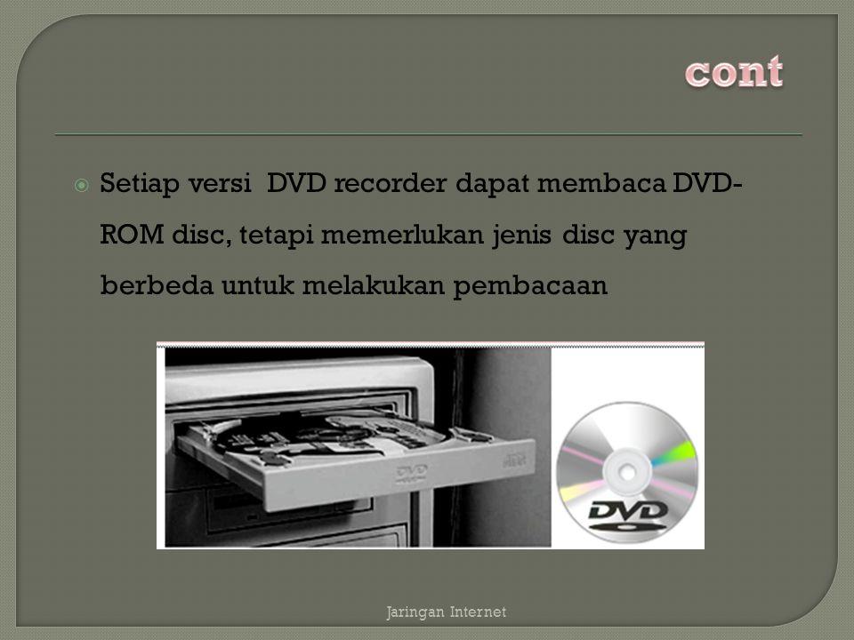  Setiap versi DVD recorder dapat membaca DVD- ROM disc, tetapi memerlukan jenis disc yang berbeda untuk melakukan pembacaan Jaringan Internet