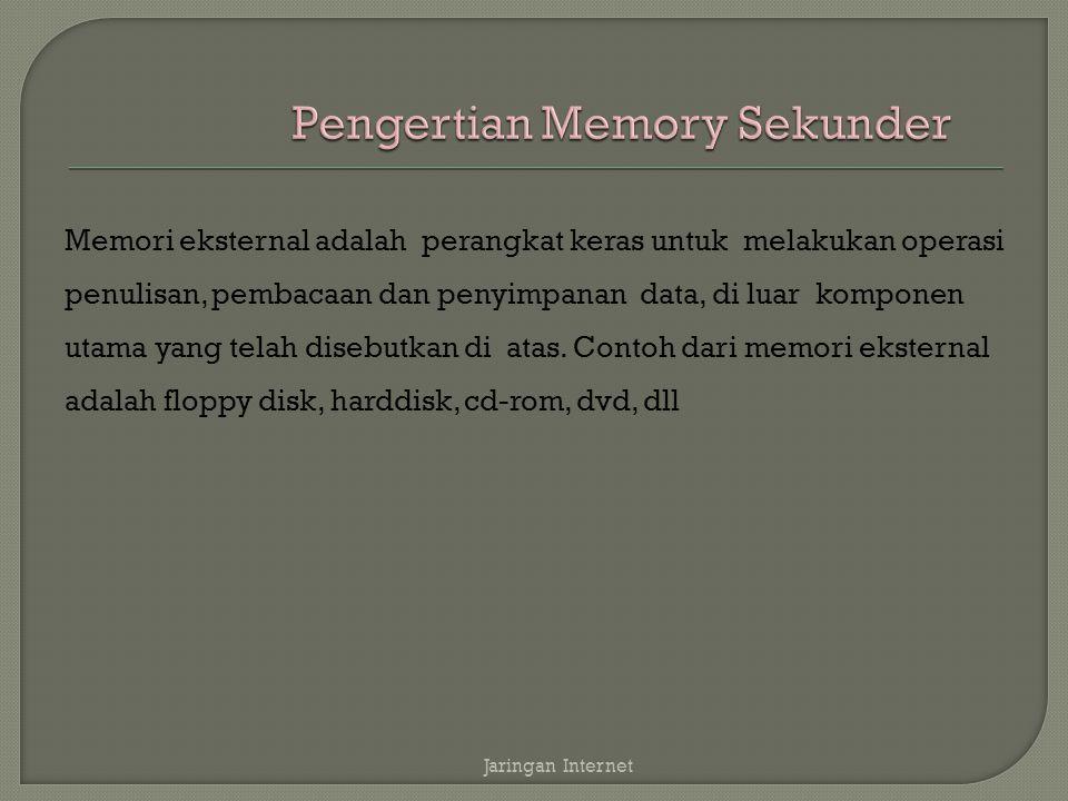Memori eksternal adalah perangkat keras untuk melakukan operasi penulisan, pembacaan dan penyimpanan data, di luar komponen utama yang telah disebutkan di atas.