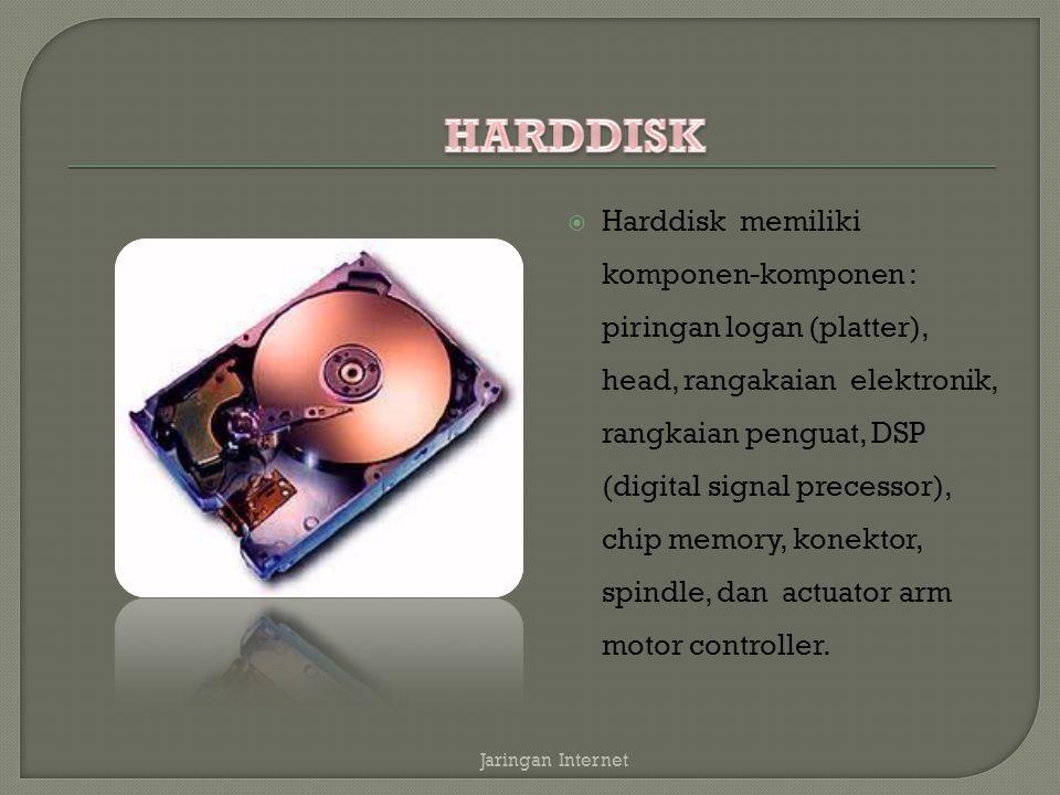  Harddisk memiliki komponen-komponen : piringan logan (platter), head, rangakaian elektronik, rangkaian penguat, DSP (digital signal precessor), chip memory, konektor, spindle, dan actuator arm motor controller.