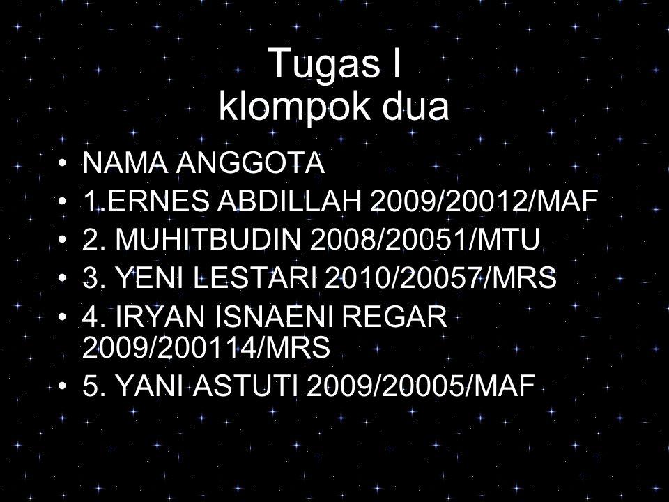 Tugas I klompok dua NAMA ANGGOTA 1.ERNES ABDILLAH 2009/20012/MAF 2.
