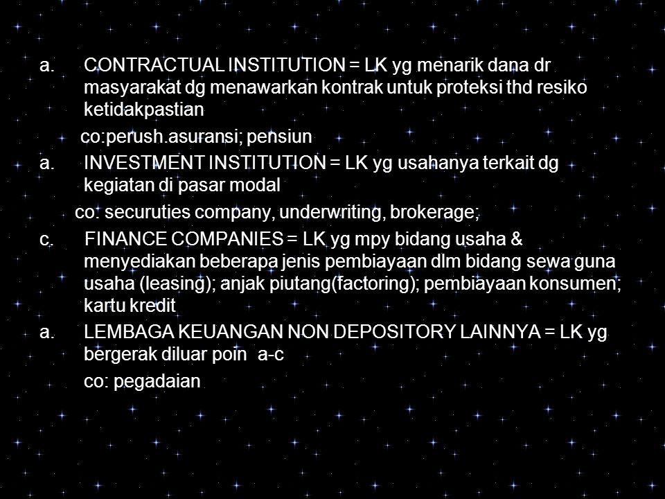 a.CONTRACTUAL INSTITUTION = LK yg menarik dana dr masyarakat dg menawarkan kontrak untuk proteksi thd resiko ketidakpastian co:perush.asuransi; pensiu