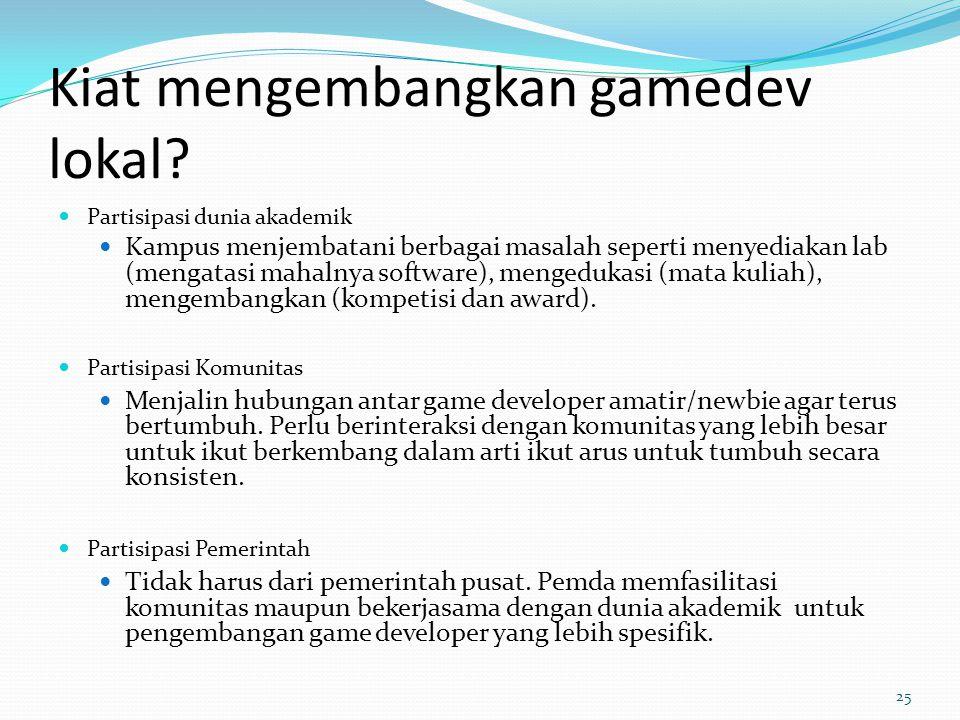 Kiat mengembangkan gamedev lokal? Partisipasi dunia akademik Kampus menjembatani berbagai masalah seperti menyediakan lab (mengatasi mahalnya software