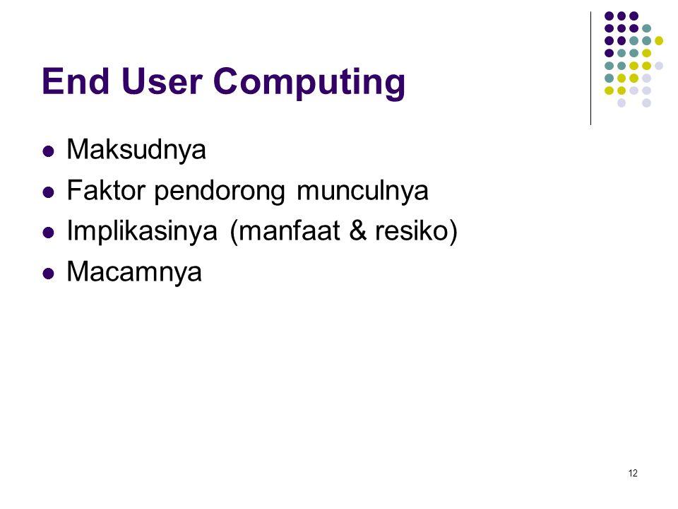 12 End User Computing Maksudnya Faktor pendorong munculnya Implikasinya (manfaat & resiko) Macamnya