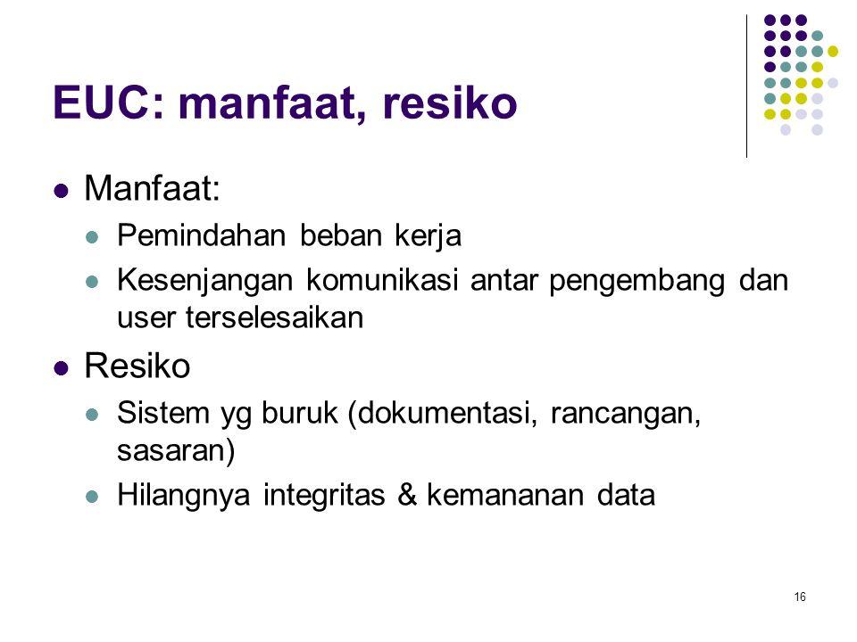 16 EUC: manfaat, resiko Manfaat: Pemindahan beban kerja Kesenjangan komunikasi antar pengembang dan user terselesaikan Resiko Sistem yg buruk (dokumentasi, rancangan, sasaran) Hilangnya integritas & kemananan data