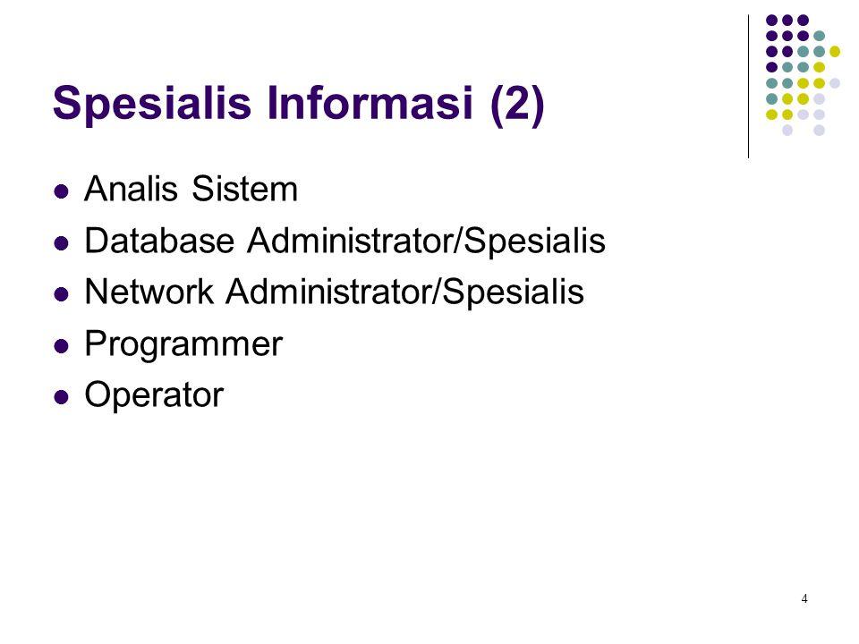 4 Spesialis Informasi (2) Analis Sistem Database Administrator/Spesialis Network Administrator/Spesialis Programmer Operator