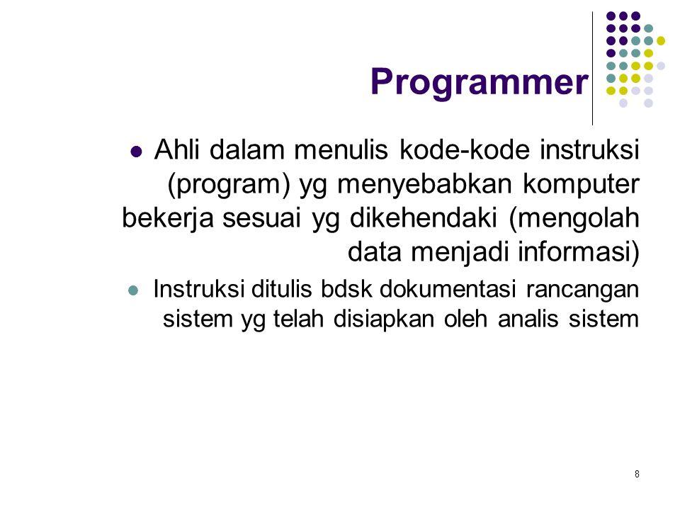 8 Programmer Ahli dalam menulis kode-kode instruksi (program) yg menyebabkan komputer bekerja sesuai yg dikehendaki (mengolah data menjadi informasi) Instruksi ditulis bdsk dokumentasi rancangan sistem yg telah disiapkan oleh analis sistem