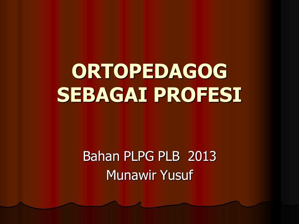 ORTOPEDAGOG SEBAGAI PROFESI Bahan PLPG PLB 2013 Munawir Yusuf