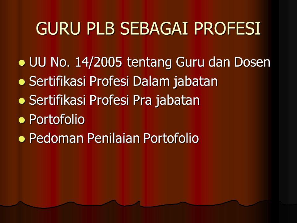 GURU PLB SEBAGAI PROFESI UU No. 14/2005 tentang Guru dan Dosen UU No. 14/2005 tentang Guru dan Dosen Sertifikasi Profesi Dalam jabatan Sertifikasi Pro