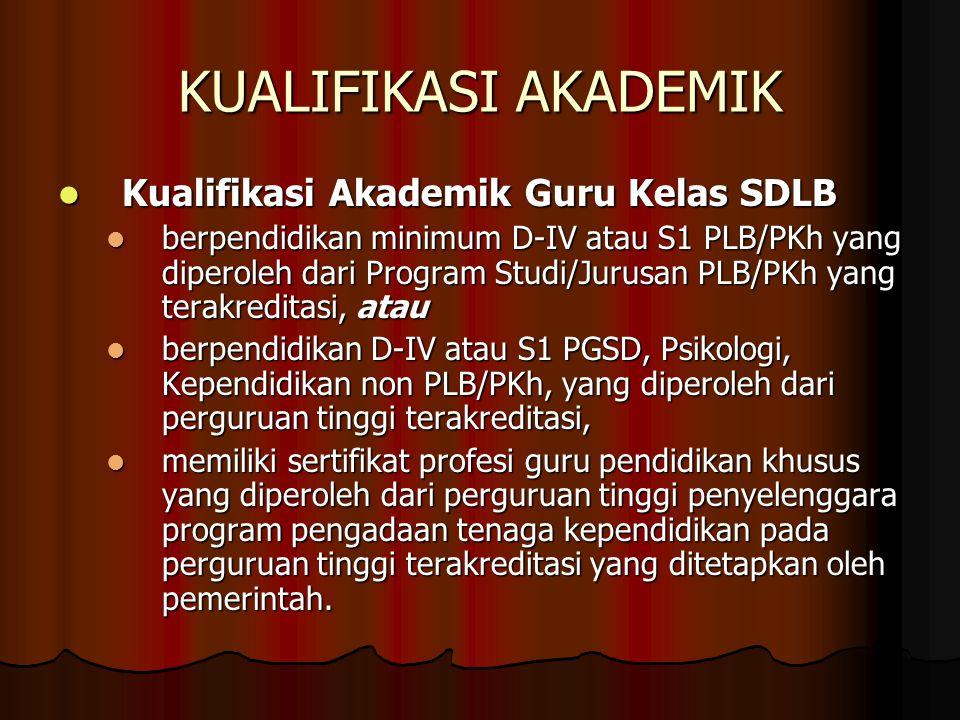 KUALIFIKASI AKADEMIK Kualifikasi Akademik Guru Kelas SDLB Kualifikasi Akademik Guru Kelas SDLB berpendidikan minimum D-IV atau S1 PLB/PKh yang diperoleh dari Program Studi/Jurusan PLB/PKh yang terakreditasi, atau berpendidikan minimum D-IV atau S1 PLB/PKh yang diperoleh dari Program Studi/Jurusan PLB/PKh yang terakreditasi, atau berpendidikan D-IV atau S1 PGSD, Psikologi, Kependidikan non PLB/PKh, yang diperoleh dari perguruan tinggi terakreditasi, berpendidikan D-IV atau S1 PGSD, Psikologi, Kependidikan non PLB/PKh, yang diperoleh dari perguruan tinggi terakreditasi, memiliki sertifikat profesi guru pendidikan khusus yang diperoleh dari perguruan tinggi penyelenggara program pengadaan tenaga kependidikan pada perguruan tinggi terakreditasi yang ditetapkan oleh pemerintah.