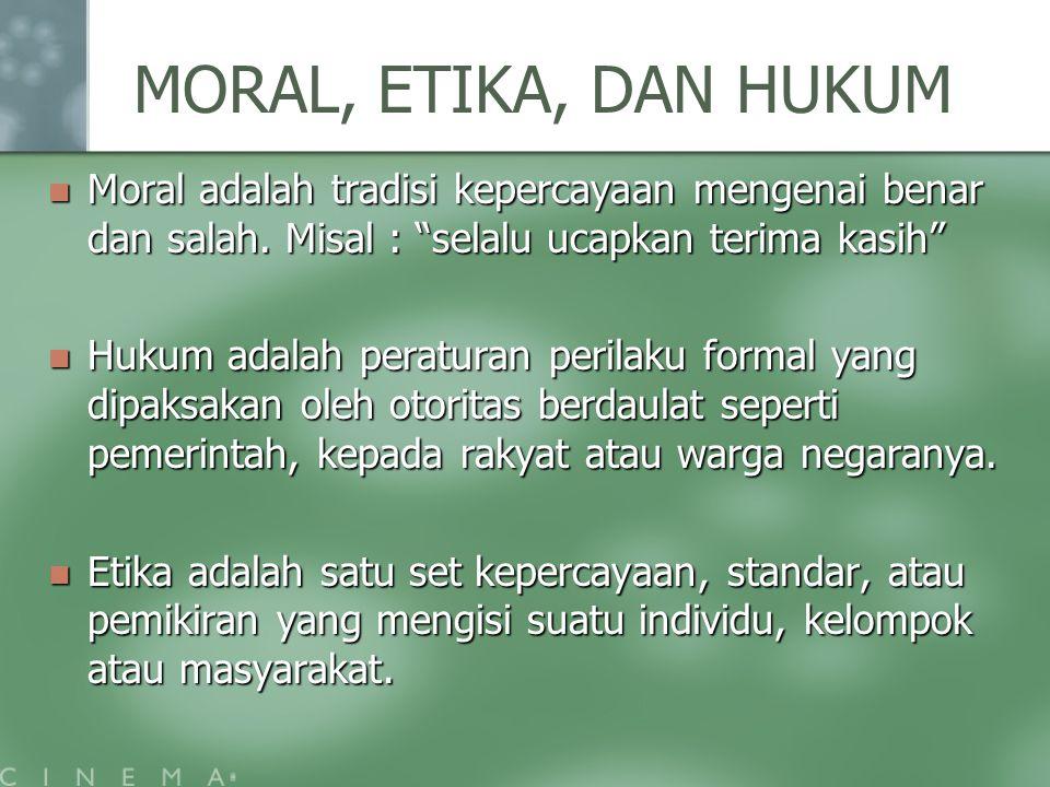"""MORAL, ETIKA, DAN HUKUM Moral adalah tradisi kepercayaan mengenai benar dan salah. Misal : """"selalu ucapkan terima kasih"""" Moral adalah tradisi kepercay"""
