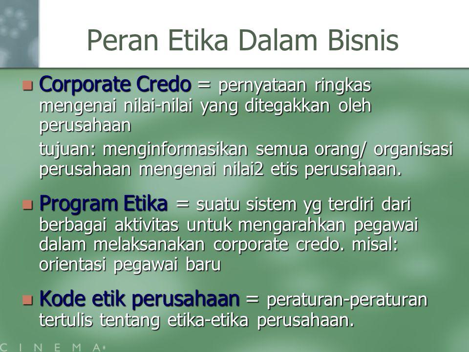 Peran Etika Dalam Bisnis Corporate Credo = pernyataan ringkas mengenai nilai-nilai yang ditegakkan oleh perusahaan Corporate Credo = pernyataan ringka