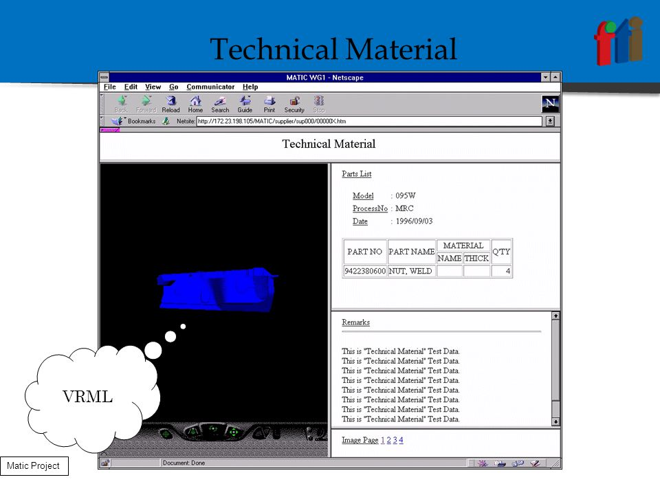 VRML Technical Material Matic Project
