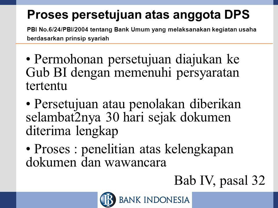 Proses persetujuan atas anggota DPS PBI No.6/24/PBI/2004 tentang Bank Umum yang melaksanakan kegiatan usaha berdasarkan prinsip syariah Permohonan per