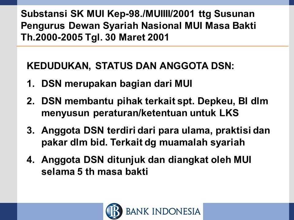 Substansi SK MUI Kep-98./MUIIII/2001 ttg Susunan Pengurus Dewan Syariah Nasional MUI Masa Bakti Th.2000-2005 Tgl. 30 Maret 2001 KEDUDUKAN, STATUS DAN