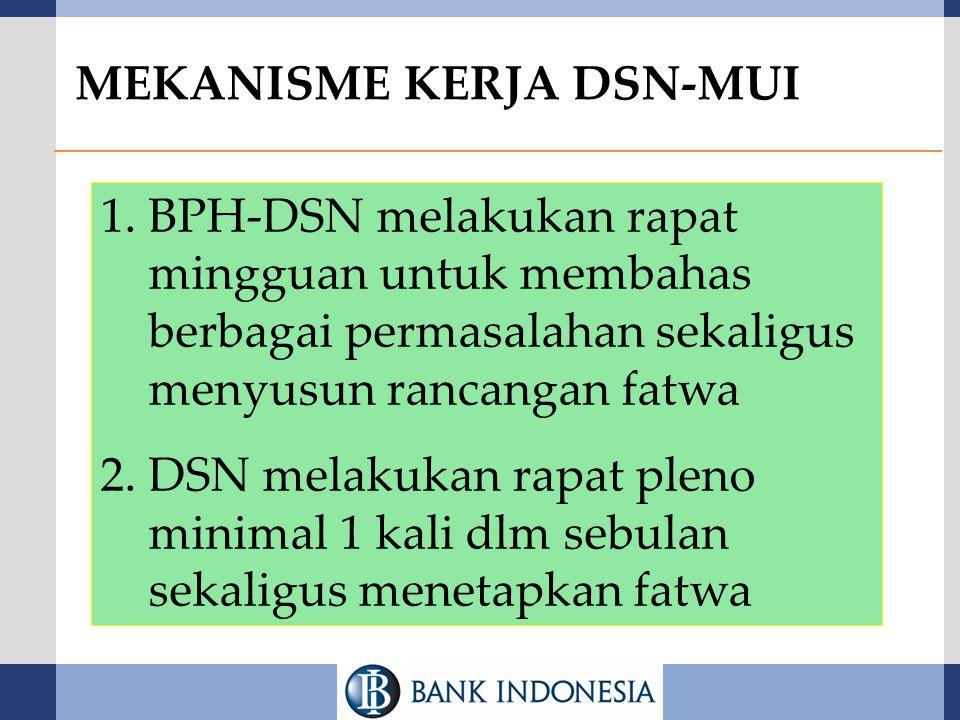 1.BPH-DSN melakukan rapat mingguan untuk membahas berbagai permasalahan sekaligus menyusun rancangan fatwa 2.DSN melakukan rapat pleno minimal 1 kali
