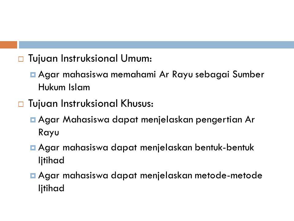 MATERI PERTEMUAN VI Ar Rayu sebagai Sumber Hukum Islam