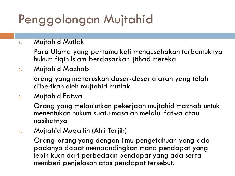 (pada masa lampau berlaku mutlak, saat ini syarat tersebut diperingan)  Syarat tambahan Mujtahid masa kini:  Menguasai ilmu-ilmu sosial dan ilmu-I