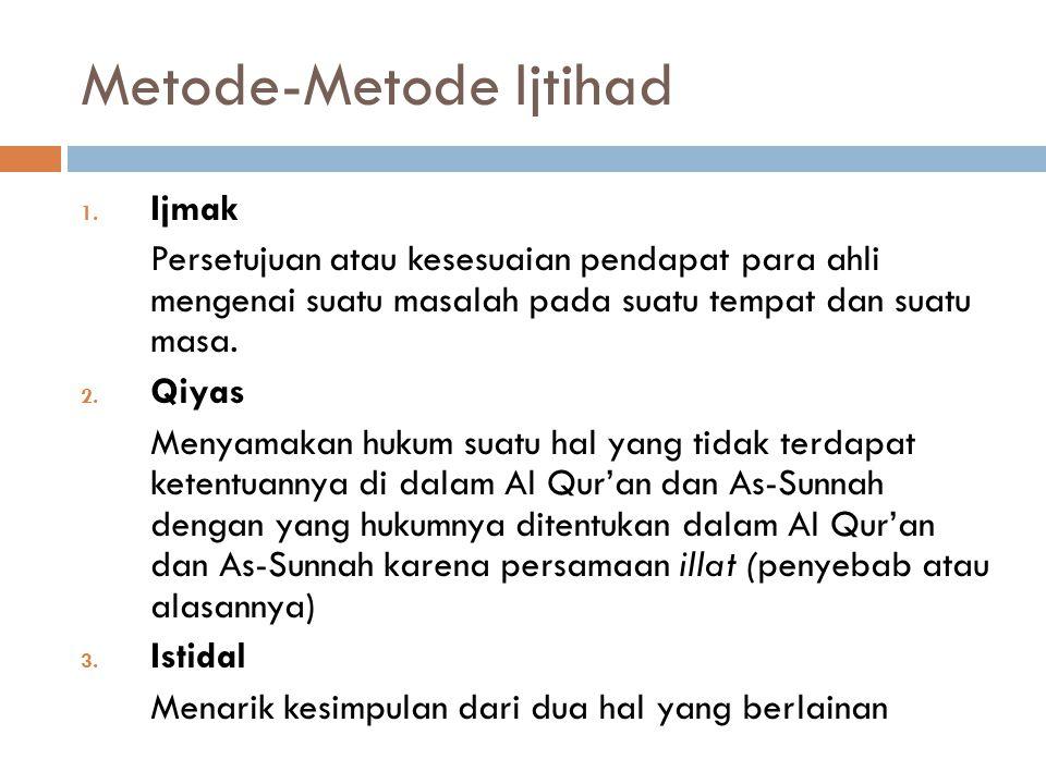 Penggolongan Mujtahid 1. Mujtahid Mutlak Para Ulama yang pertama kali mengusahakan terbentuknya hukum fiqih Islam berdasarkan ijtihad mereka 2. Mujtah