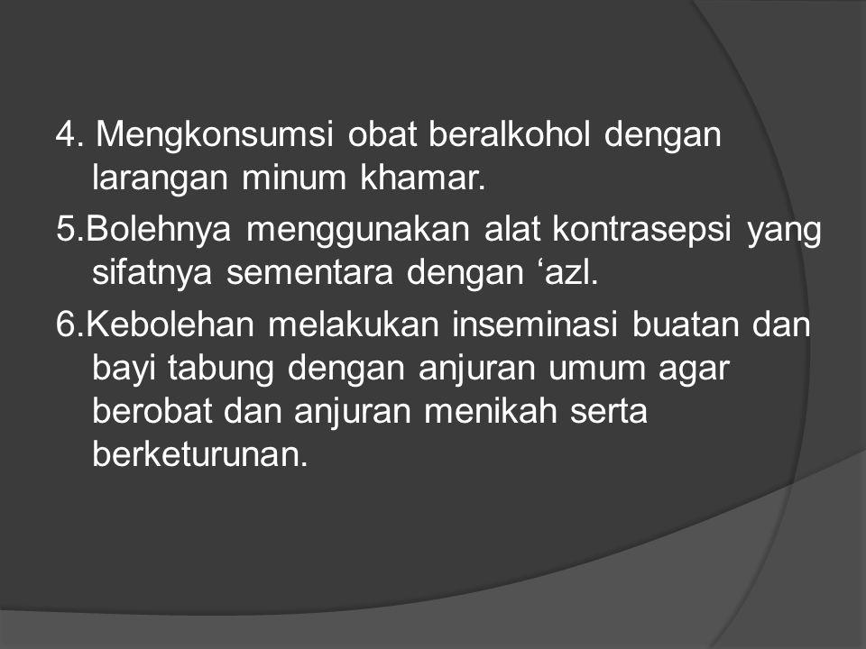 4.Mengkonsumsi obat beralkohol dengan larangan minum khamar.