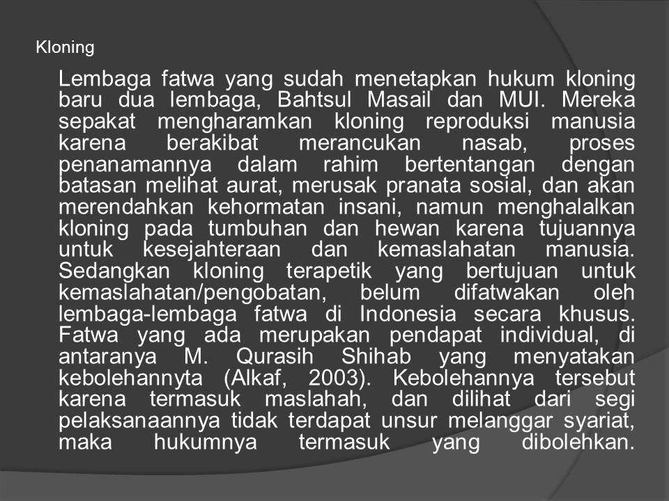 Kloning Lembaga fatwa yang sudah menetapkan hukum kloning baru dua lembaga, Bahtsul Masail dan MUI.