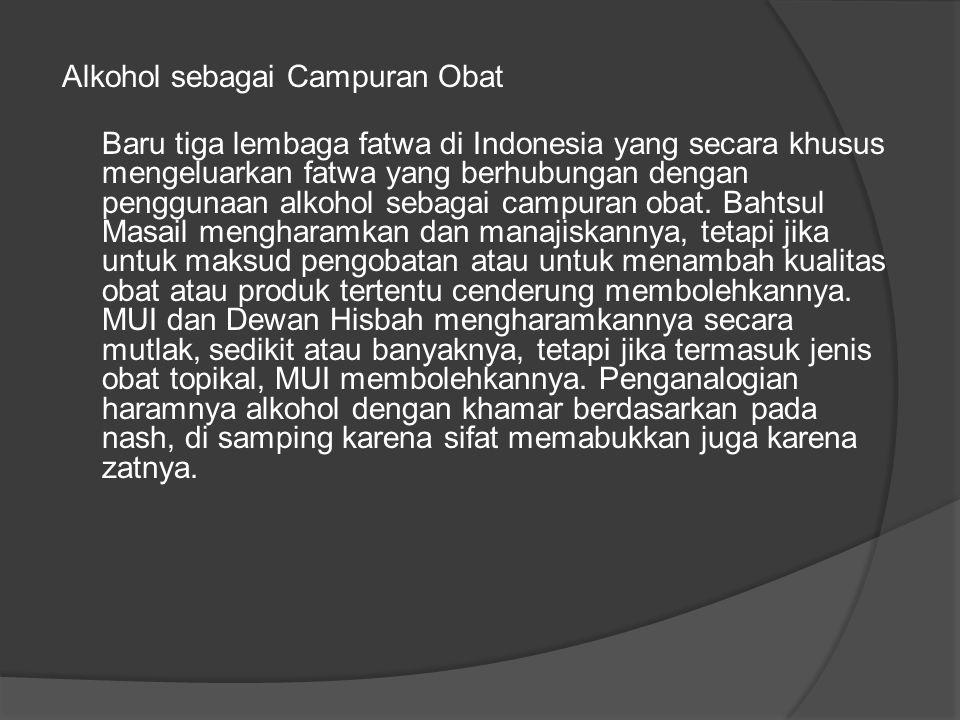 Alkohol sebagai Campuran Obat Baru tiga lembaga fatwa di Indonesia yang secara khusus mengeluarkan fatwa yang berhubungan dengan penggunaan alkohol sebagai campuran obat.