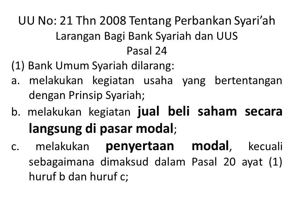 UU No: 21 Thn 2008 Tentang Perbankan Syari'ah Larangan Bagi Bank Syariah dan UUS Pasal 24 (1) Bank Umum Syariah dilarang: a. melakukan kegiatan usaha