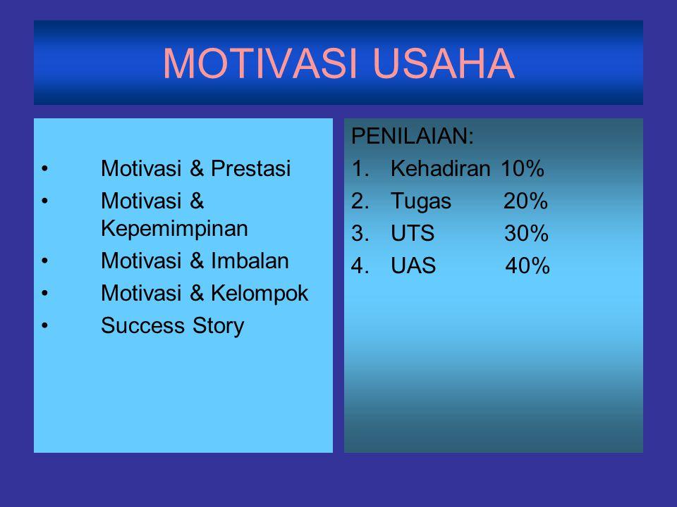MOTIVASI USAHA Motivasi & Prestasi Motivasi & Kepemimpinan Motivasi & Imbalan Motivasi & Kelompok Success Story PENILAIAN: 1.Kehadiran 10% 2.Tugas 20%