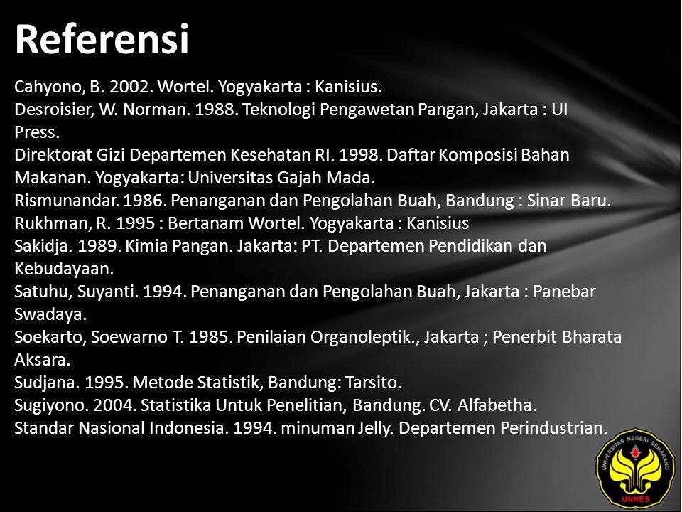 Referensi Cahyono, B. 2002. Wortel. Yogyakarta : Kanisius.