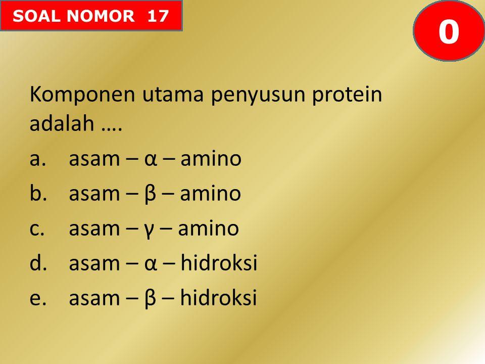 SOAL NOMOR 17 Komponen utama penyusun protein adalah …. a.asam – α – amino b.asam – β – amino c.asam – γ – amino d.asam – α – hidroksi e.asam – β – hi