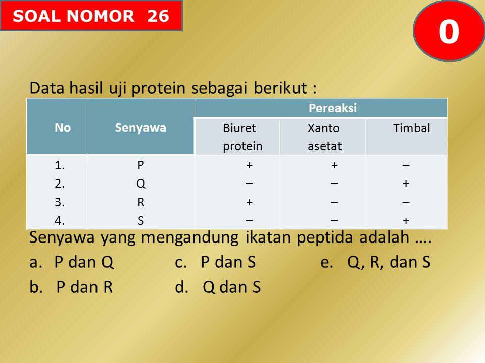 SOAL NOMOR 26 Data hasil uji protein sebagai berikut : Senyawa yang mengandung ikatan peptida adalah …. a.P dan Qc. P dan Se. Q, R, dan S b.P dan R d.