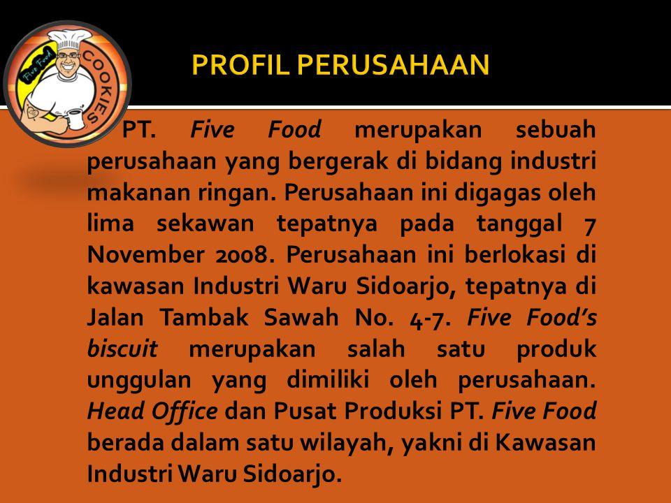 PT. Five Food merupakan sebuah perusahaan yang bergerak di bidang industri makanan ringan. Perusahaan ini digagas oleh lima sekawan tepatnya pada tang