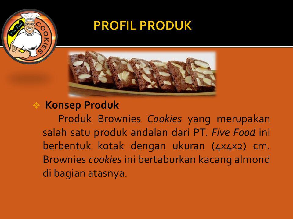  Konsep Produk Produk Brownies Cookies yang merupakan salah satu produk andalan dari PT. Five Food ini berbentuk kotak dengan ukuran (4x4x2) cm. Brow
