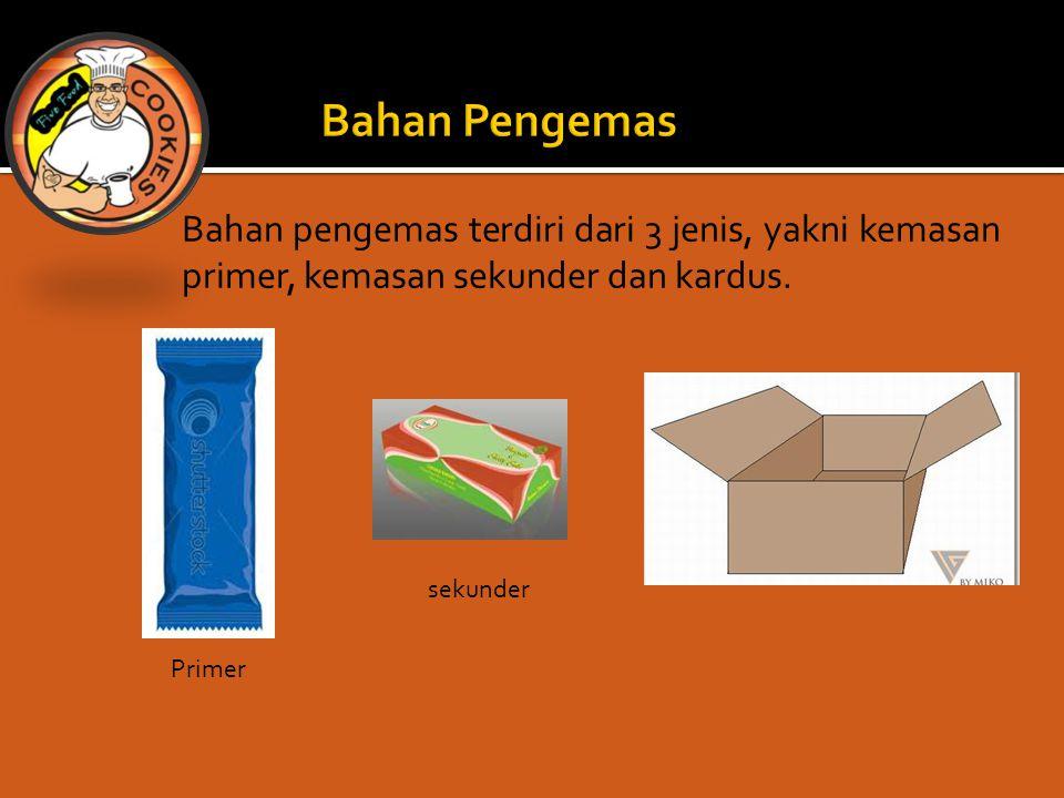 Bahan pengemas terdiri dari 3 jenis, yakni kemasan primer, kemasan sekunder dan kardus. Primer sekunder