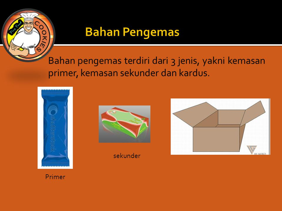 Bahan pengemas terdiri dari 3 jenis, yakni kemasan primer, kemasan sekunder dan kardus.
