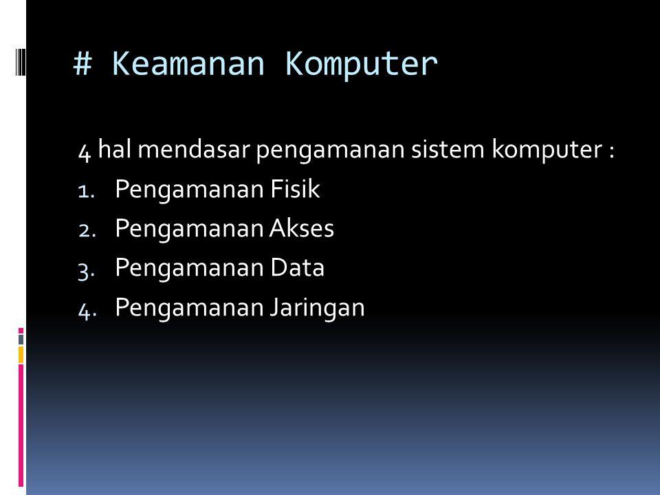# Keamanan Komputer 4 hal mendasar pengamanan sistem komputer : 1.