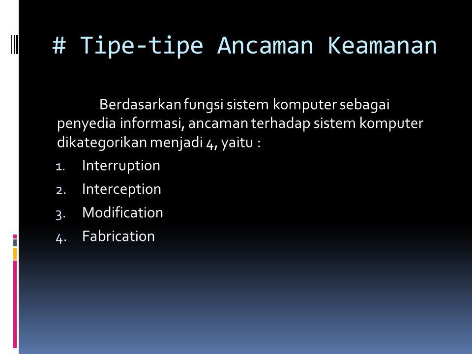 # Tipe-tipe Ancaman Keamanan Berdasarkan fungsi sistem komputer sebagai penyedia informasi, ancaman terhadap sistem komputer dikategorikan menjadi 4, yaitu : 1.