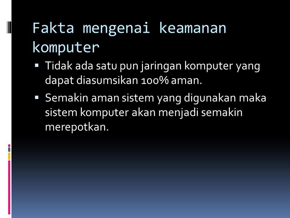Fakta mengenai keamanan komputer  Tidak ada satu pun jaringan komputer yang dapat diasumsikan 100% aman.